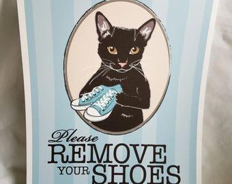Remove Your Shoes Black Cat - 8x10 Eco-friendly Print