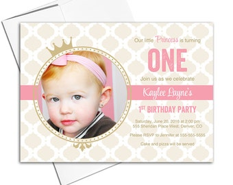 Pink and gold first birthday invitation girls pink and gold birthday party invites | printable or printed - WLP00302