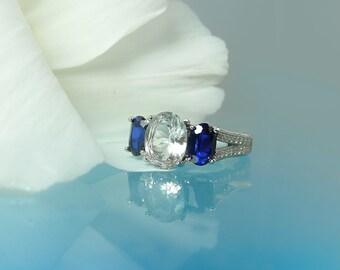 Blue Sapphire Ring, Natural Sapphire Ring, Sapphire Birthstone Ring, Herkimer Diamond, Three Stone Ring, Sapphire Ring, Sapphire Silver Ring