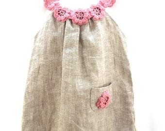 flower's dress : linen, organic, happy birthday, baby, girl, baby girl