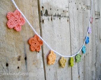 Crochet Flower Garland - You Choose Colors