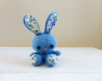 Bunny stuffed animal, crochet bunny, blue bunny, rabbit doll, amigurumi animal, crochet amigurumi, ready to ship, handmade, kawaii