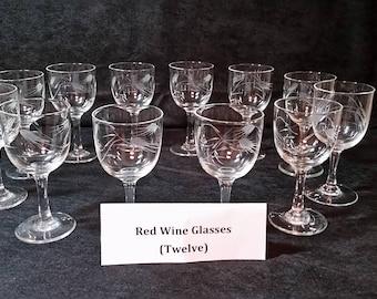 Red Wine Stemware. etched, vintage, set of 12