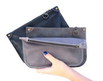 Gray Leather Clutch / Women clutches / Woman Leather Clutch / Every day clutch / Gray Clutch / Evening Small Bag