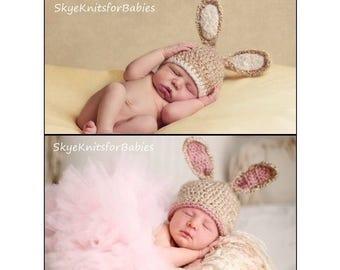 Baby Bunny Hat, Crochet Newborn Bunny Hat, Baby Easter Hat, Newborn Easter Hat, Crochet Baby Hat, Newborn Photography Prop, Baby Photo Prop