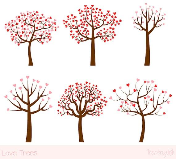 Liebe Baum-Clipart-Set Hochzeit-Baum-Clip-Art Valentinstag
