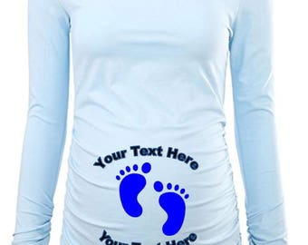 Custom Personalized Designed Maternity  Long Sleeved T-shirt, Pregnancy Announcement For New Baby, Baby Shower Gift Ideas