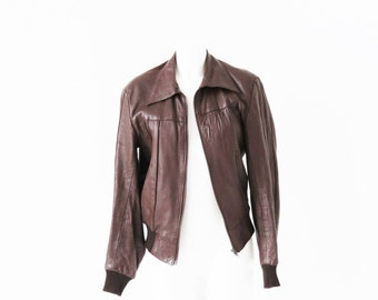 1970's brown leather bomber style jacket