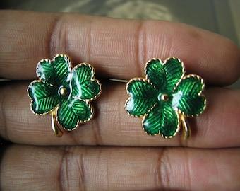 Vintage 1980's Avon Shamrock Stud Earrings, Vintage Shamrock Enamel Earrings, Four Leaf Clover Earrings, Irish Earrings