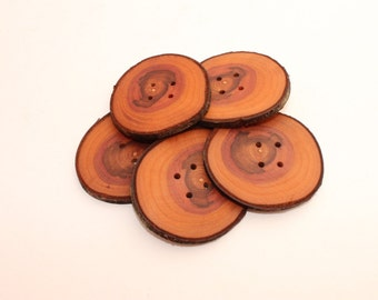 Set of 5 plum wooden buttons | 1.8 -2.4 "