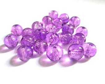 20 purple (P-16) 6mm Crackle glass beads