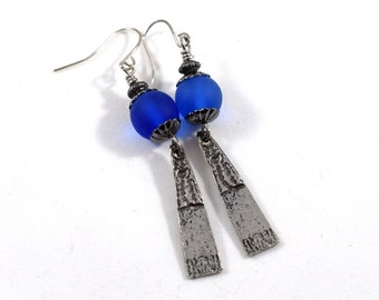 Handmade Royal Blue Pewter Earrings, Pewter Earrings, Wire Earrings, Boho Earrings, Artisan Earrings, Industrial Earrings, Silver, AE143