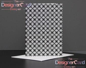 Black & White Interlocking Circles Pattern Greeting Card