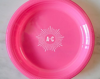 Custom Starburst Initials Plastic Plates Monogrammed Party Plated Personalized Printed Plates Custom Printed & Personalized Monogram Plastic Plates Custom Printed Party