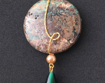 Round Green & Brown Wire-wrapped Pendant
