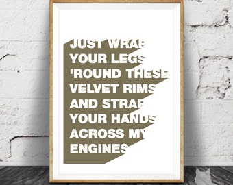 Born to Run - Springsteen Lyrics - Art Print