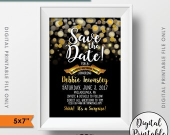 "Save the Date for a Surprise Birthday Party Black & Gold Glitter Surprise Birthday Save the Date Gold Birthday, PRINTABLE 5x7"" Save the Date"
