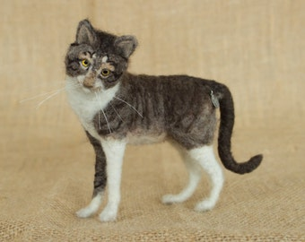 Made to Order Needle Felted Cat (short-haired): Custom needle felted animal sculpture