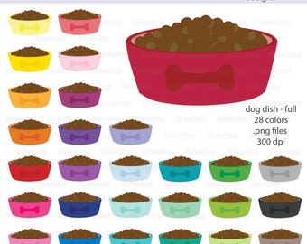 Puppy or Dog Food Dish Digital Clipart - Instant download PNG files