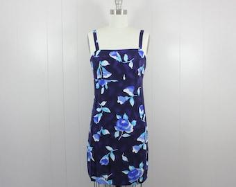 1980s mini dress • blue floral sundress • graphic floral • S