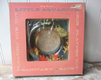 Vintage Baby's World Little Aquarium plastic baby toy ring  tub toy with box N2 Beach decor