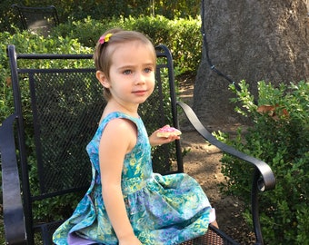 Green Purple Pink Batik Sundress  Little Girl's Dress  Sleeveless Girl's Dress  Summer Dress  Handmade Dress  Lined Sundress  Toddler Dress