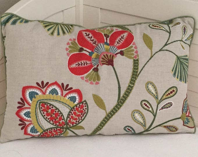 FREE SHIPPING, Cowtan and Tout, Carimbo Red and Green Lumbar 16x24 Designer Pillow Cover, Jane Churchill fabric