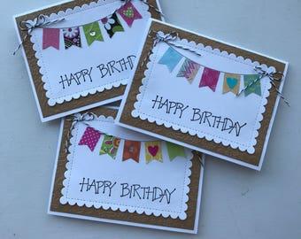Birthday card set of 3, Banner birthday cards.