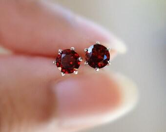 Garnet Earrings, Garnet Stud Earrings, Dark Red Gemstone Earrings, Sterling Silver January Birthstone Earrings, Natural Garnet, Red Stone
