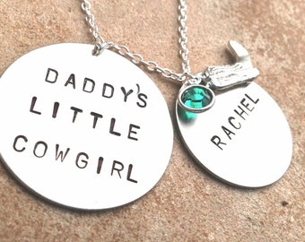 Daddy's Little Cowgirl, Personalized Necklace, Children's Jewelry, Custom Child Jewelry, Hand Stamped, Cowgirl Necklace, Cowgirl