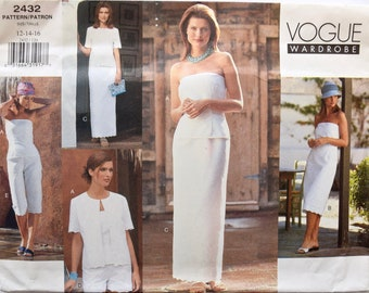 Vogue 2432 Sewing Pattern Misses' Jacket Strapless Dress Top Straight Skirt Shorts and Tapered Pants UNCUT FF Vogue Wardrobe Sizes 12-14-16