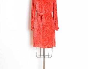 rudi gernreich dress, vintage 60s dress, burnout velvet dress, orange dress, 60s velvet dress, 60s gernreich dress, twiggy dress, S small
