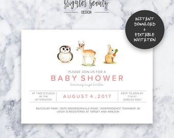 Pink Woodland Animal Baby Shower Invitation   INSTANT DOWNLOAD   Editable PDF  Do It Yourself   Printable
