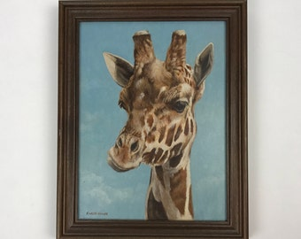 Richard Hauser Giraffe Oil Painting on Panel
