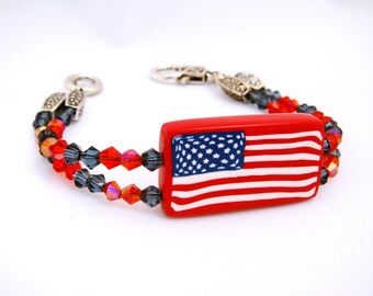 Patriotic American Flag with Swarovski Beads Bracelet, Polymer Clay Bracelet, American Flag Bracelet, Red, White and Blue, Jewelry, Mom Gift