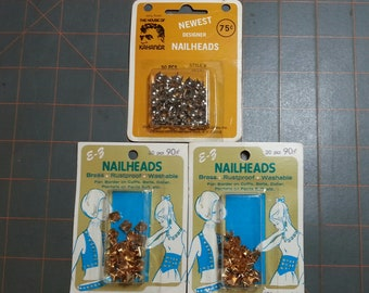 Vintage 3 packages of nailheads brass and silver metal round and pyramid shapes 110 pieces total