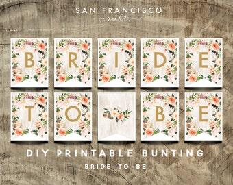 Bridal Shower Banner - Bride To Be Bunting - Printable Banner - Bridal Shower Decor - BOHO Collection - DIY - Instant Download