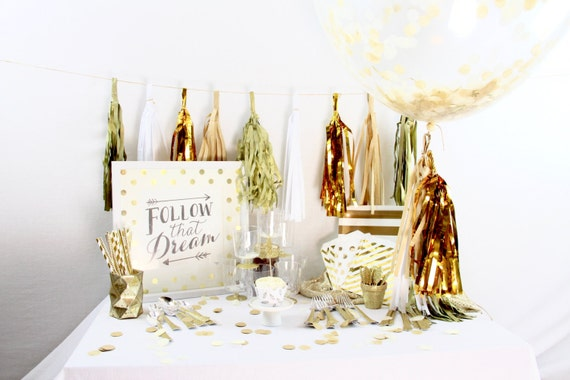 Cloud Nine 9+ Person Party Box, Cream Gold Glitter Party Package, First Birthday Decor, White Gold Glitter Party In a Box