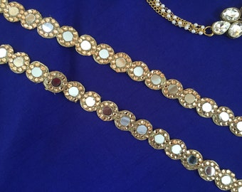 Indian Cutwork Mirror Embroidery Trim, Golden Zari Diamante Cutwork Mirror, Handmade Ethnic Bridal Lace, Sari Border 1.5 cm W Price per mtr