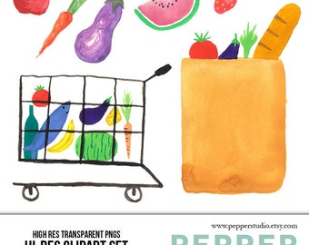 grocery bag clipart etsy rh etsy com brown grocery bag clip art grocery bag clip art free