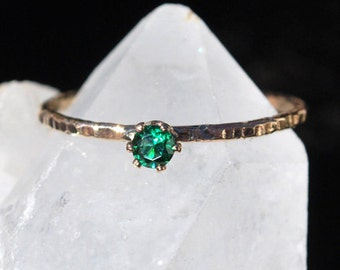 Emerald Ring - May Birthstone Ring - Gemstone Ring - Dainty Ring - Stacking Ring - Durable Hammered Gold Ring - Mothers Ring - Faceted