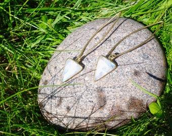 Triangular moonstone earring