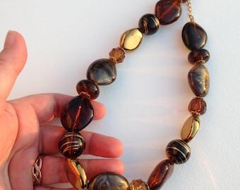 Necklace - chunky plastic necklace bronze plastic pebble shaped bead necklace retro design