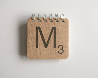 Scrabble notepad made from Scrabble Tile Coasters - variety of letters A - Z