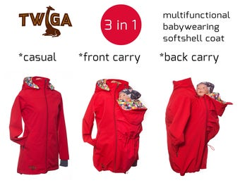 Babywearing coat, baby carrier jacket, babywearing jacket, red softshell, waterproof, hoods. Front/back carry, 3in1, baby carrying jacket