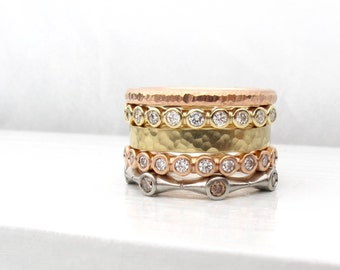 Diamond, platinum, or gold half eternity band, diamond stacking rings, eternity wedding band