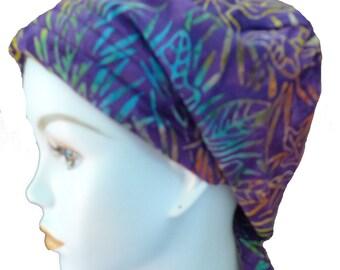 Purple Hand Dyed Batik Cancer Hat Chemo Scarf Head Wrap Hair Loss Head Cover Bad Hair Day Calypso 27