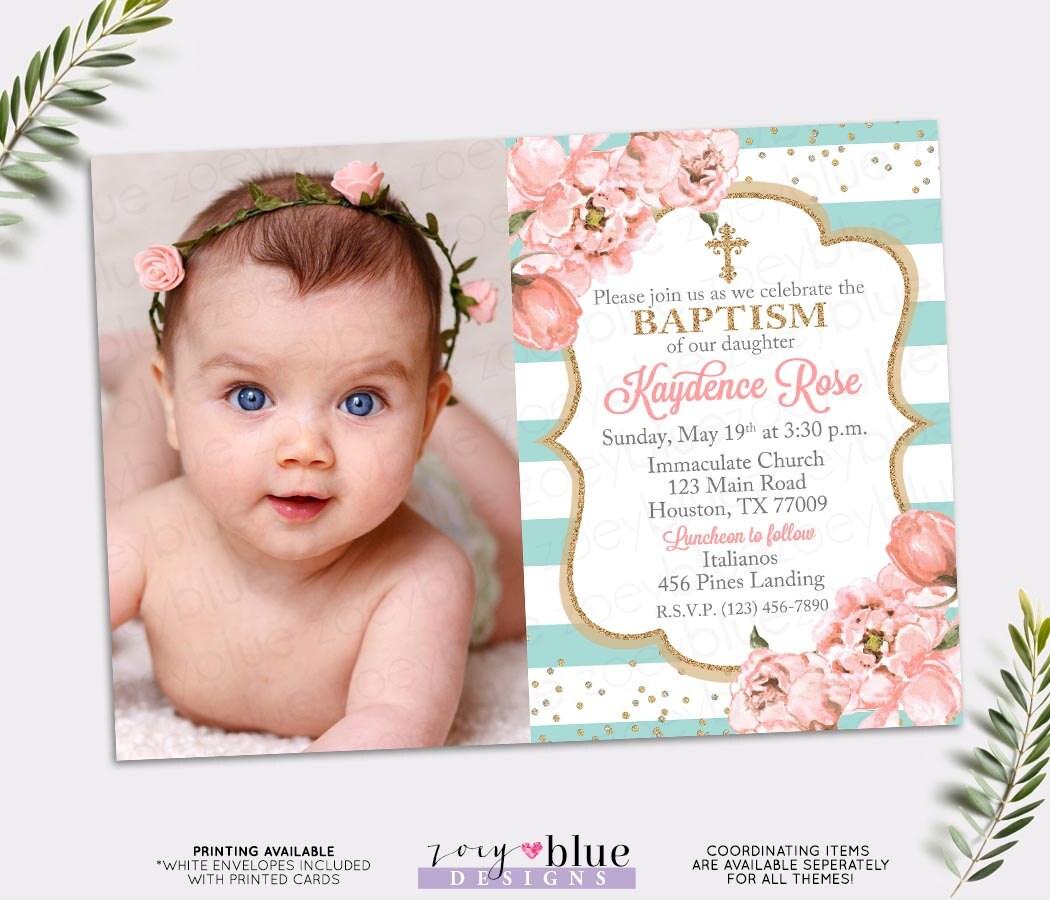 girl baptism invitation blush pink and turquoise baptism
