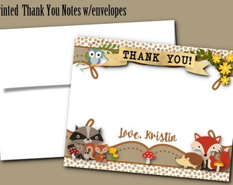 Printed Thank You Note Cards with Envelope, Birthday Party, Baby Shower, Baby Woodland Forest Animals, Fox, Raccoon, Squirrel, Owl, Hedgehog