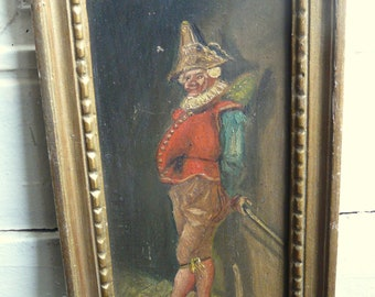 antique French oil painting commedia dell'arte figure polichinelle HST